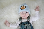 Baby Blue Applique Hat with Brown Football