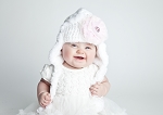 White Winter Wimple Hat with Pale Pink Lace Rose