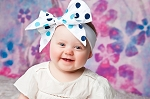 White Soft Headband w Navy Blue Dot Bow-Rae-Mi