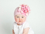 Pale Pink Blossom Bonnet with Pale Pink Small Peony