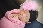 Black Soft Headband with Candy Pink Small Curly Marabou