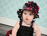 Black White Dot Sun Hat with Black Raspberry Large Peony
