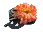 Black White Dot Sun Hat with Orange Large Peony