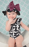Black White Dot Sun Hat with Pink Black Bow-Rae-Mi