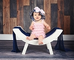 Navy Blue Dot Sun Hat with Pale Pink Bow-Rae-Mi