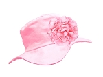 Pale Pink Sun Hat with Pink Large Geraniums