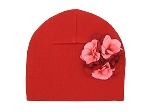 Red Cotton Hat with Red Pink Large Geraniums