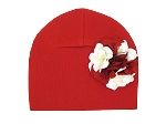 Red Cotton Hat with Red White Large Geraniums