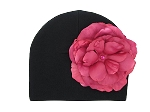 Black Cotton Hat with Raspberry Large Rose