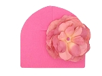 Candy Pink Cotton Hat with Candy Pink Large Rose