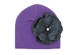 Purple Cotton Hat with Sequins Black Rose