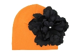 Orange Cotton Hat with Black Large Peony