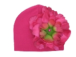 Raspberry Cotton Hat with Raspberry Large Peony