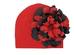 Red Cotton Hat with Black Red Large Peony