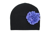 Black Cotton Hat with Lavender Large Geraniums