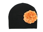 Black Cotton Hat with Orange Large Geraniums