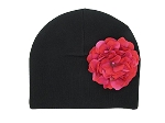 Black Cotton Hat with Raspberry Large Geraniums