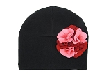 Black Cotton Hat with Red Pink Large Geraniums
