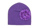 Purple Cotton Hat with Purple Large Geraniums