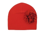 Red Cotton Hat with Red Large Geraniums