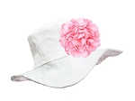 White Sun Hat with Pink Large Geraniums