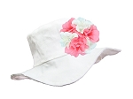 White Sun Hat with Pink & White Large Geraniums