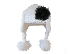 White Winter Wimple Hat with Black Curly Marabou