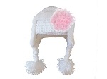White Winter Wimple Hat with Candy Pink Curly Marabou