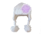 White Winter Wimple Hat with Lavender Curly Marabou