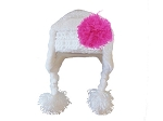 White Winter Wimple Hat with Raspberry Curly Marabou
