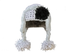 Gray Winter Wimple Hat with Black Curly Marabou