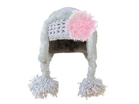 Gray Winter Wimple Hat with Candy Pink Curly Marabou