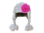 Gray Winter Wimple Hat with Raspberry Curly Marabou