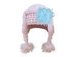 Pale Pink Winter Wimple w Blue Curly Marabou