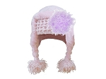 Pale Pink Winter Wimple w Lavender Curly Marabou