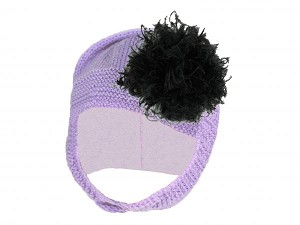 Lavender Blossom Bonnet with Black Large Curly Marabou