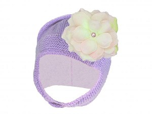 Lavender Blossom Bonnet with Pale Pink Small Rose