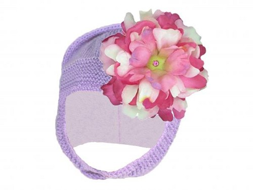 Lavender Blossom Bonnet with Pink Raspberry Small Peony