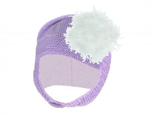 Lavender Blossom Bonnet with White Large Curly Marabou