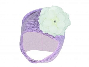 Lavender Blossom Bonnet with White Small Rose