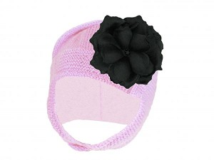 Pale Pink Blossom Bonnet with Black Small Rose