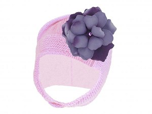 Pale Pink Blossom Bonnet with Purple Small Rose