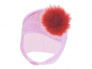 Pale Pink Blossom Bonnet with Red Large regular Marabou