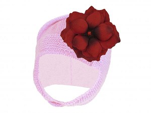 Pale Pink Blossom Bonnet with Red Small Rose