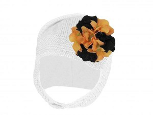 White Blossom Bonnet with Black Orange Large Geraniums