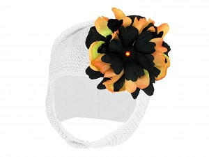 White Blossom Bonnet with Black Orange Small Peony