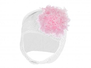 White Blossom Bonnet with Candy Pink Large Curly Marabou