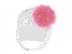 White Blossom Bonnet with Candy Pink Large regular Marabou