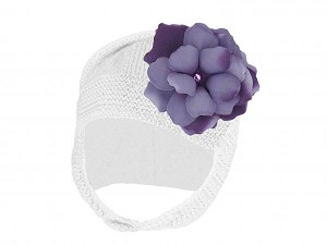 White Blossom Bonnet with Purple Small Rose