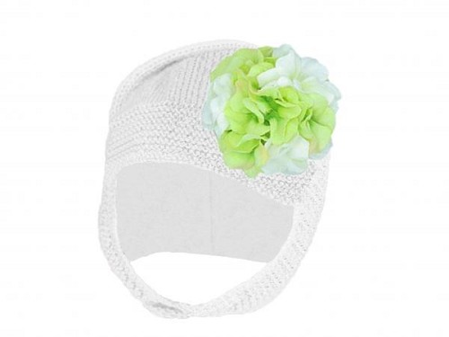 White Blossom Bonnet with White Green Large Geraniums